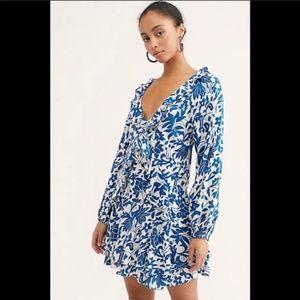 Free People Blue Rebecca Long Sleeve  Mini Dress